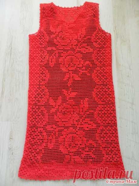 Коралловое платье, филейная техника - Вязание - Страна Мам