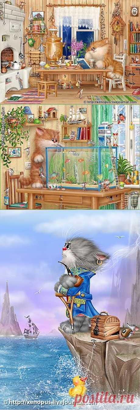 Позитивные рисунки от Xenopus. Коты..