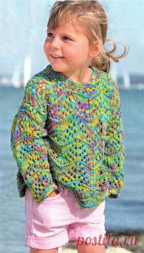 Вязание для детей. Вязаный ажурный пуловер для девочки. Модель для вязания 31.