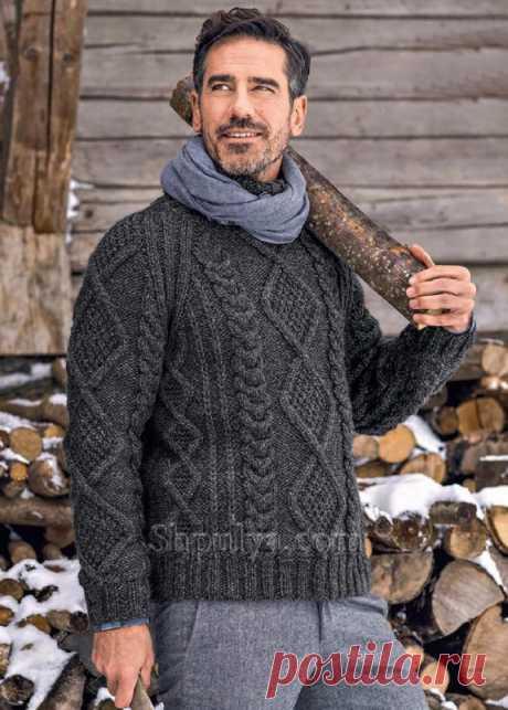 Мужской пуловер реглан с косами и ромбами — Shpulya.com - схемы с описанием для вязания спицами и крючком