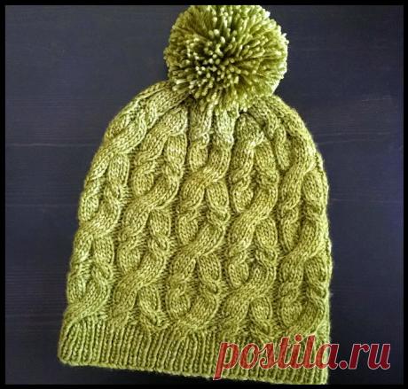 Три красивые вязаные шапки с узорами «косы» и «жгуты» спицами!