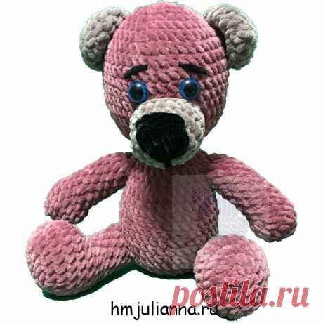 Игрушка медвежонок плюшевый, цвет пыльная роза, 27 смПлюшевый мир Мастерская игрушек Анны Ганоцкой