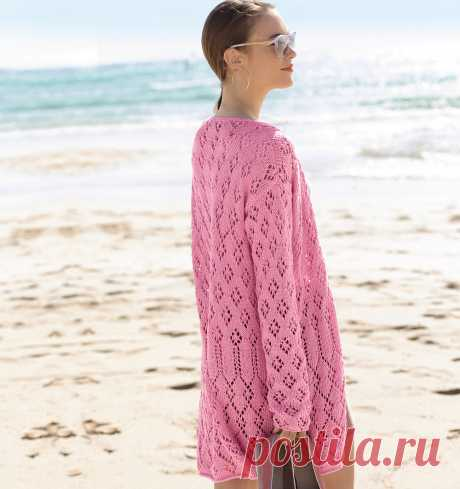 Pink openwork cardigan - the scheme of knitting by spokes. We knit Cardigans on Verena.ru