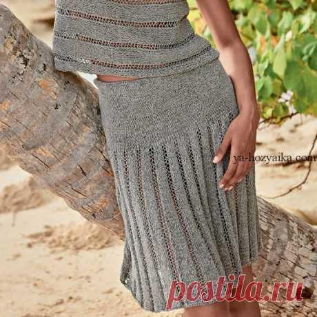 Вязание спицами юбки в складку. Схемы вязания юбок спицами.