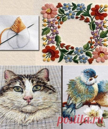 Вышивка гладью для начинающих. Пошагово схемы, рисунки, объемная вышивка на одежде, техника. Мастер-класс: Цветы розы, буквы, птицы