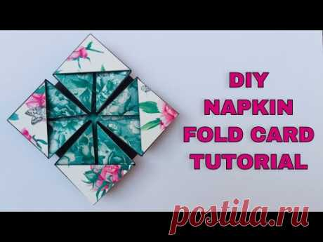 Diy Napkin Fold Card   How to make Napkin Card Tutorial   Diy Scrapbook Idea
