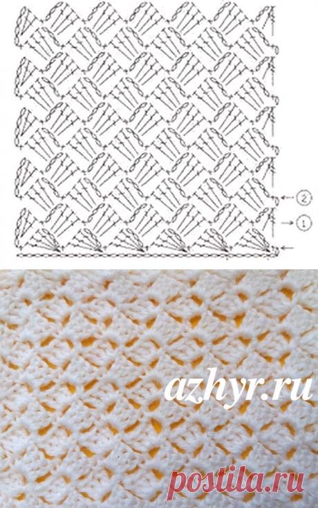 Узор крючком из столбиков с накидом | АЖУР - схемы узоров