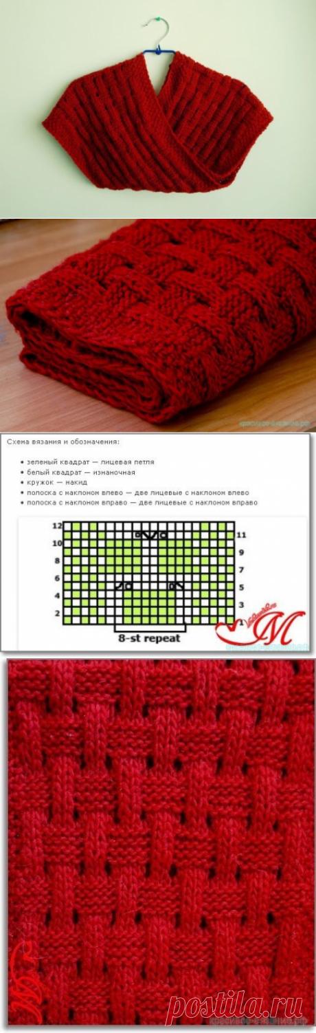 Красивое вязание | Шарф спицами для начинающих вязальщиц.
