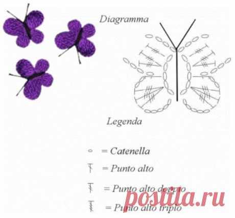 Маленькие вязаные бабочки для отделки изделий, крючок