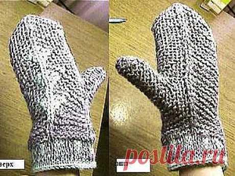 Варежки на 2-х спицах ( для начинающих) - Ярмарка Мастеров - ручная работа, handmade