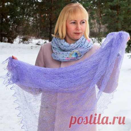 Платок Пуховый платок ручной работы паутинка сиреневая, 120 х 120