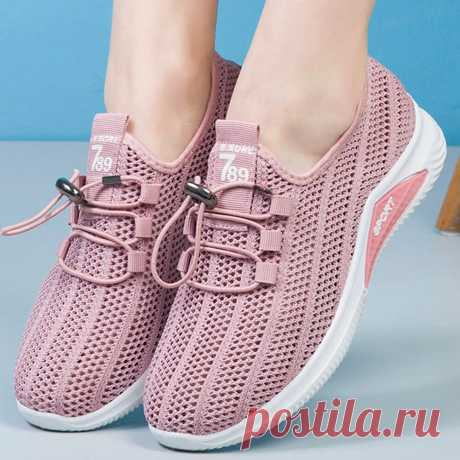 Women Mesh Breathable Lace Up Flat Sneakers Walking Shoes - US$21.99