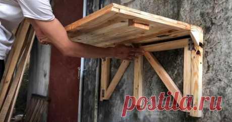 откидной стол своими руками с креплением к стене, откидной столик на балкон, стол к стене складной