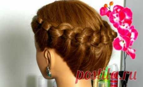 Прическа корзинка, косы, плетение, шпильками, крепится, французская коса