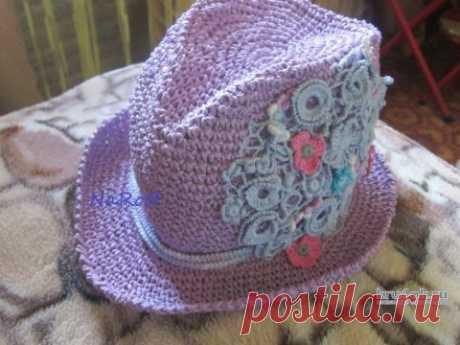 Шляпа Федора крючком. Работа Натальи