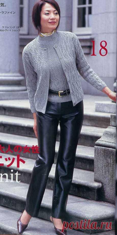 Благородный жакет с пуловером уникальными узорами спицами – схемы вязания — Пошивчик одежды