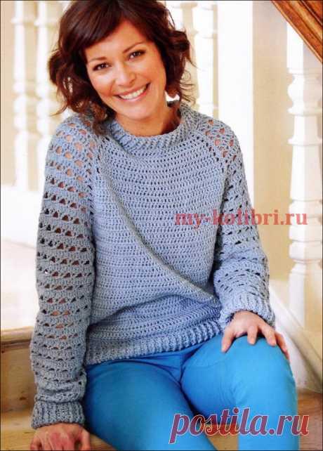 Модный пуловер крючком для начинающих - Колибри Весна – время обновок! И самое время связать стильный и молодежный пуловер крючком. Этот пуловер-рег