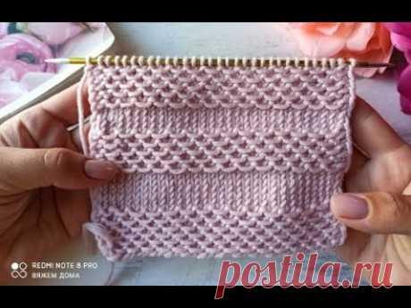 Очень красивый, эффектный узор с протяжками для вязания джемперов, свитеров, кардиганов.