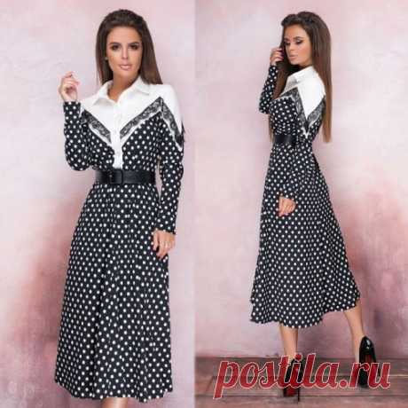Платье в горошек офисное купить недорого с доставкой
