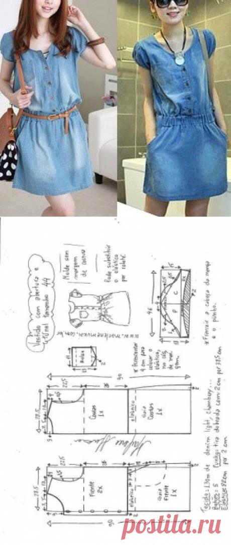 Vestido com elástico abotoado na frente | DIY - molde, corte e costura - Marlene Mukai
