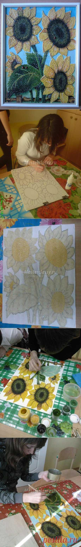 """Подарок маме. Декоративное панно """"Солнечные цветы"""". Мастер класс с пошаговым фото"""