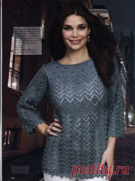 Ажурный пуловер с узором «шишечки»