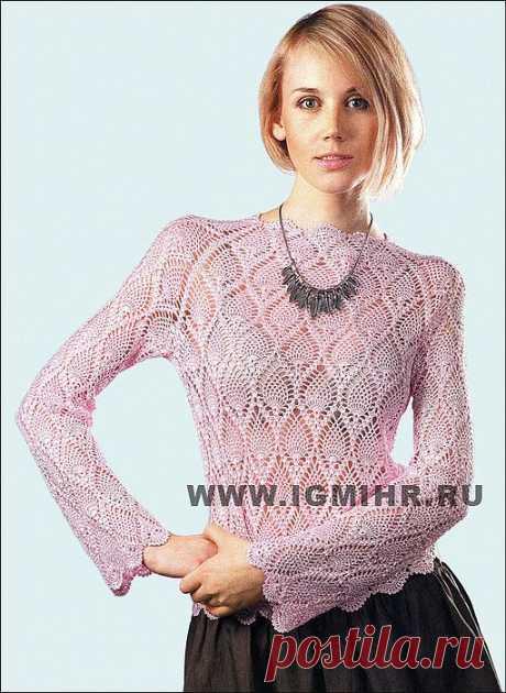 "Розовый пуловер-реглан с ""ананасами"". Крючок."