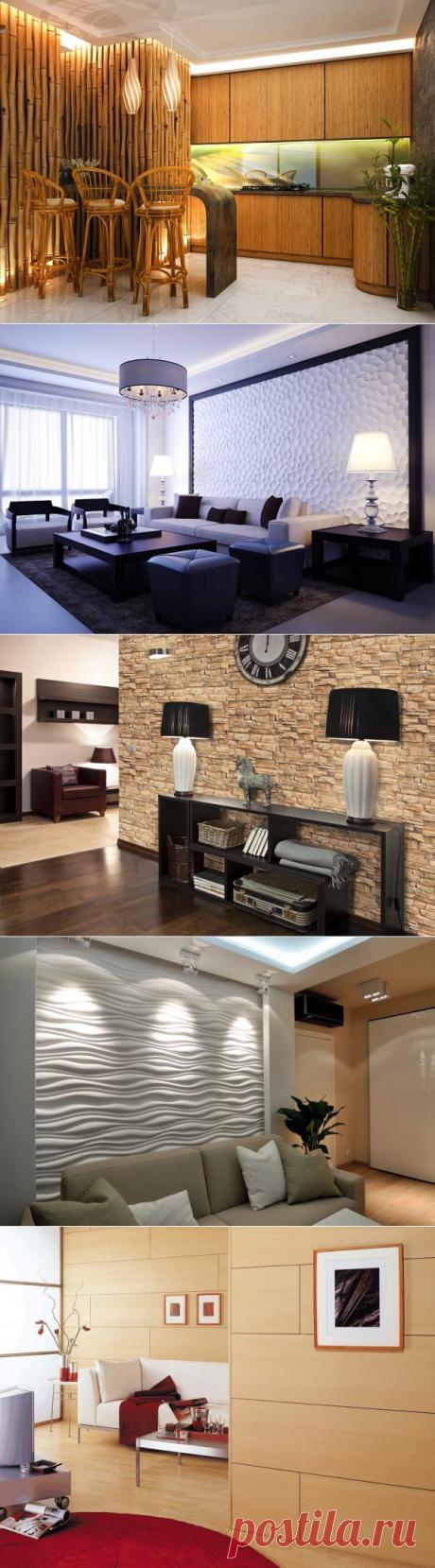 Декоративные стеновые панели для внутренней обшивки квартиры: реечные, ПВХ, плиты