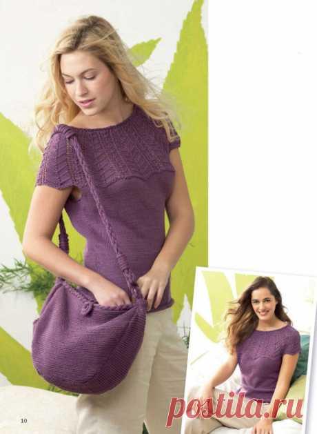Летний пуловер спицами и сумка - Портал рукоделия и моды