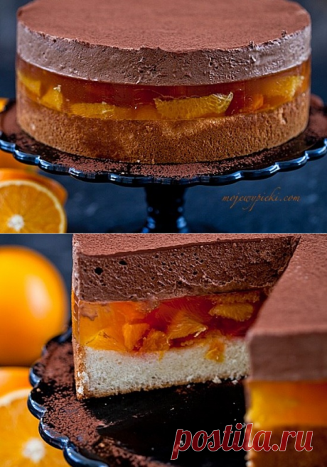 White biscuit with orange fruit jelly and chocolate mousse | Sweet Twittes