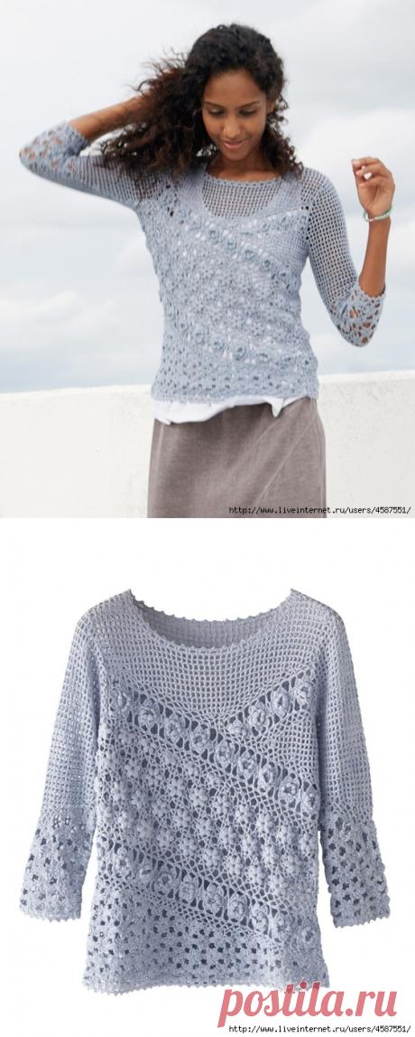 >Очень красивый пуловер крючком