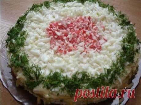 """Вафельный закусочный торт """"Крабовый рай"""""""
