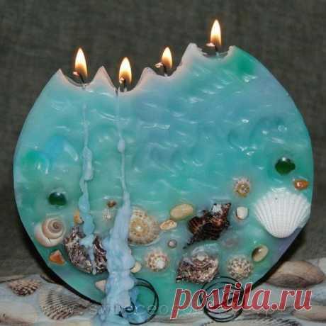 Как сделать круглую плоскую свечу с морскими ракушками  Автор - Yutta-sparrow.