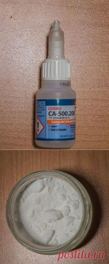 Сода + суперклей для прочнейшего соединения.