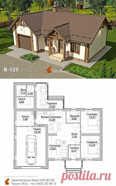 Проект дома B-123 (6/6) Проект красивого одноэтажного дома в стиле кантри с гаражом от Houses100, площадью 124м2
