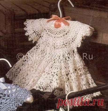 Белое воздушное платье   Вязание для девочек   Вязание спицами и крючком. Схемы вязания.
