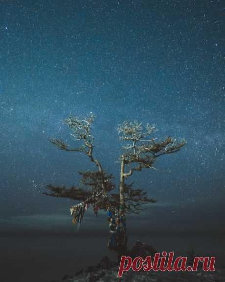 Звёздное небо над Байкалом. Фотограф – Роман Манукян: nat-geo.ru/community/user/216317/ Сказочной ночи.