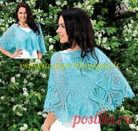 ВСЕ СВЯЗАНО. ROSOMAHA.: Голубая нарядная шаль спицами.