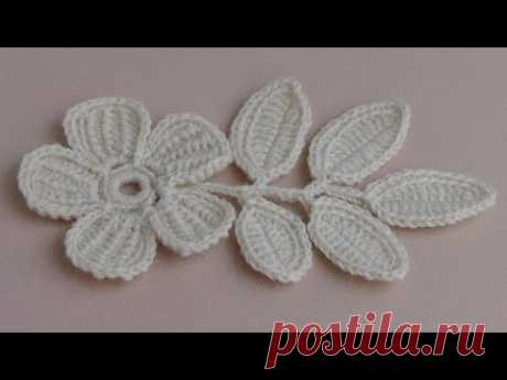 Вязание ЦВЕТКА. Урок вязания.Плоский цветок с лепестками тунисского вязания.