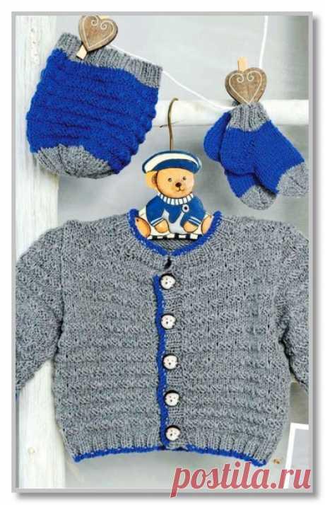 Вязание спицами детям. Описание детской модели со схемой и выкройкой. Двухцветный комплект: жакет, шапочка и носочки. Размеры на 62-68 (74-80) 86-92