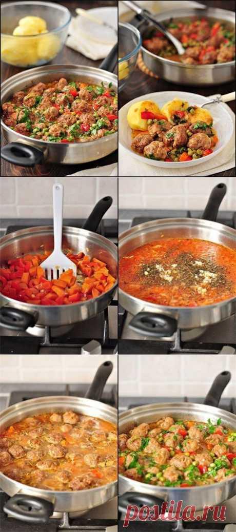 Фрикадельки с овощным рагу   Вкуснолог...
