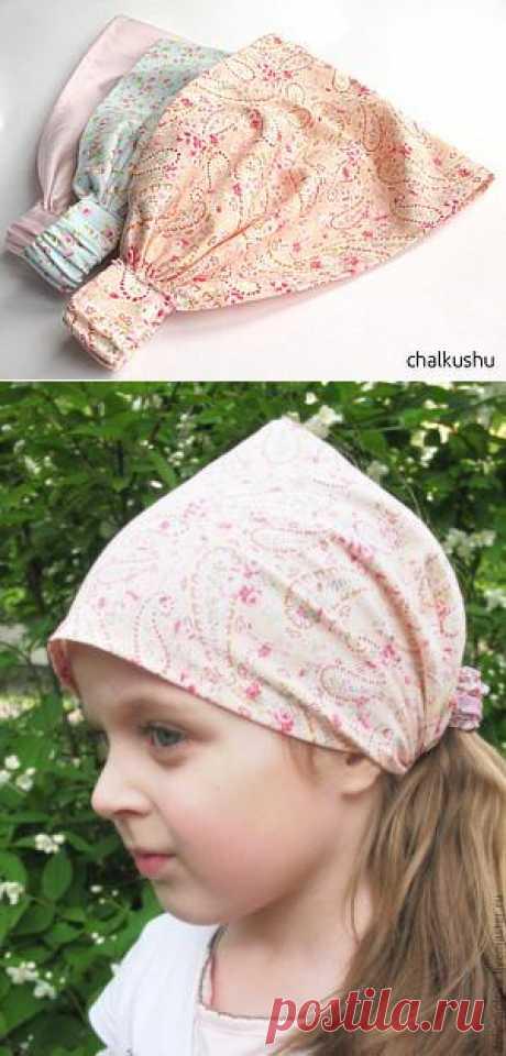 Платочек на резинке для девочек. По моему очень интересный такой летний вариант.