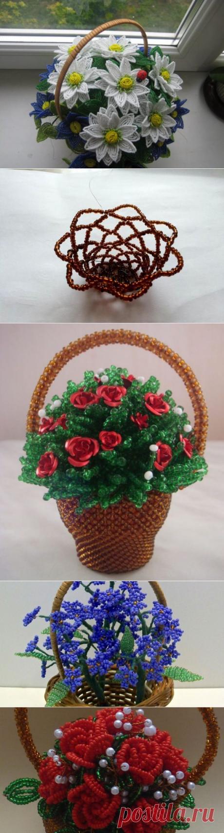 Мастер-класс ❀ как спелсти цветы из бисера в корзинке | Domigolki.ru