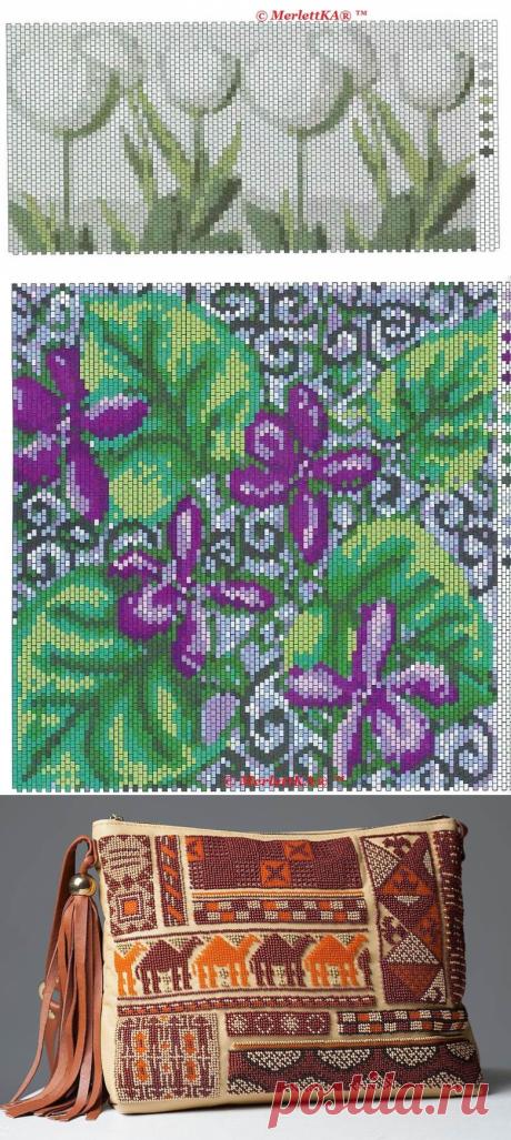 Бисер - 11 орнаментарных и цветочных схем для ткачества и вышивки