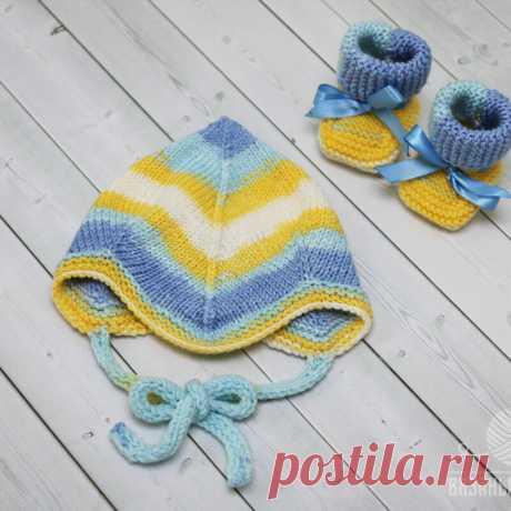 Нежная шапочка для новорожденных спицами   Вязаный   Яндекс Дзен