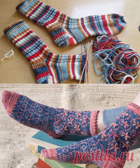 Вязания носков спицами