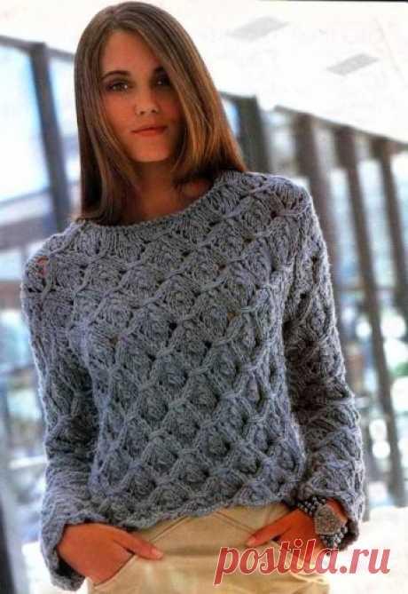 Схема вязания спицами теплого женского свитера объемной вязки с узором, спицами