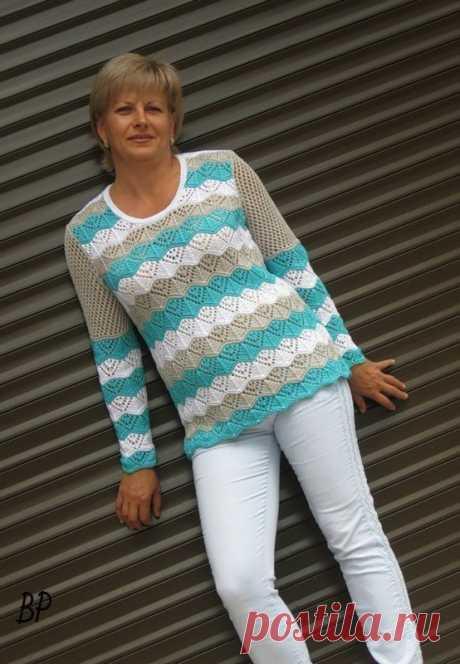 Красивый пуловер с узором из волн — DIYIdeas