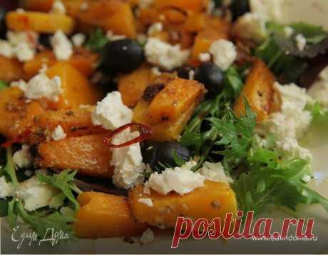 Запеченная тыква с оливками и фетой, рецепт с ингредиентами: тыква, фета, салатный микс