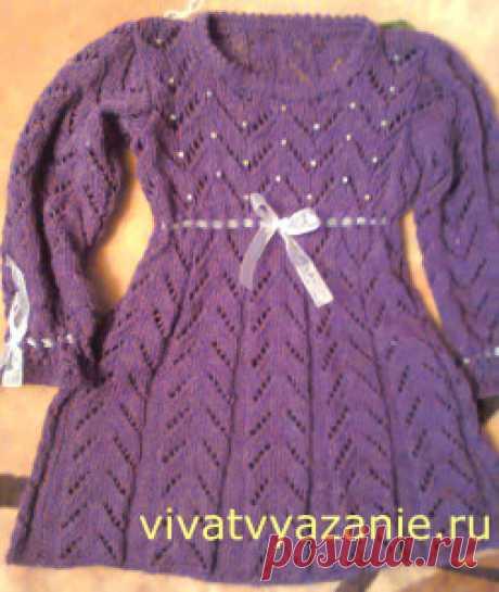 Вязаное детское платье спицами с описанием - несложно